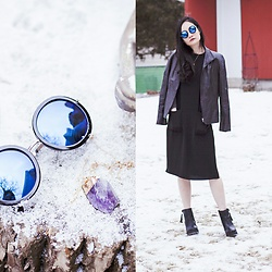 Ren Rong - Cndirect Blue Sunglasses, Forever 21 Tunic Dress, P.Rossa Leather Jacket, Dealsale Amethyst Necklace, Steve Madden Boots - C H I L L