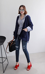 Miamiyu K - Miamasvin Brioche Knit Two Pocket Cardigan, Miamasvin Belted Striped Asymemtrical Hem Shirt - Anchor