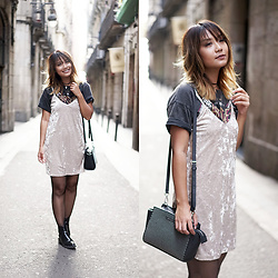 May B. - Zara Velvet Dress, Michael Kors Bag - Streets of Barcelona | OHMAYGOD.com