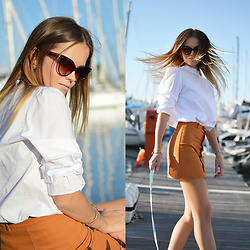 Tamara Bellis - Wholesale7 White Blouse, Wholesale7 Denim Skirt, Zaful Bracelet - Hello Corfu
