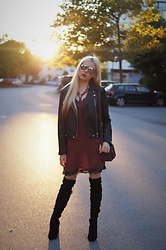 Maria R - Mango Dress, Bershka Biker Jacket, Asos Overknee Boots - One evening