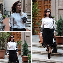 Rebel Takipte - Rosegal Whiteshirt, Ami Club Wear Black Shoes - Black and White