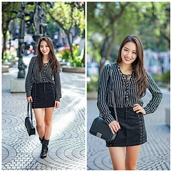 Kimberly Kong - H&M Striped Lace Up Top, H&M Suede Lace Up Mini Skirt, Chanel Boy Crossbody Bag, Nine West Boots - Find of the Day:  The Suede Mini ($14.99)