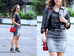 Rimanere Nella Memoria - Takko Fashion Skirt, Comma Bag, New Look Sandals - Grey Denim Skirt
