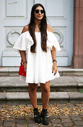 Leticia Neidl -  - White off shoulder dress.