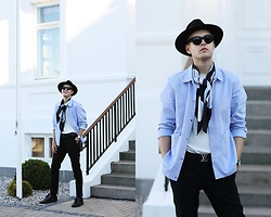 Patrick Pankalla - Balenciaga Silk Scarf, Cos Shirt Jacket, H&M Basic T Shirt, Tiger Of Sweden Trousers, Versace Leather Sneakers, Louis Vuitton Leather Belt, Acne Studios Sunglasses, H&M Fedora Hat - DW Dapper Sheffield