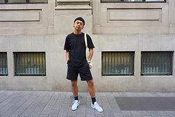 Dan Pantoja - H&M Black School Boy Shorts, Adidas Powder Blue Gazelle - JAWN JAWNZ Δ