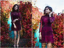 Katerina Lozovaya - Romwe Dress - Wine dress