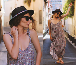 Denisia A. - Kaleidoscope Maxi Dress, Dorothy Perkins Lace Up Sandals - Worry less, travel more