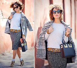 Galant-Girl Ellena - Sophie Hulme Black Leather Bag, Stella Mccartney Cat Eye Sunglasses - Mix of Prints