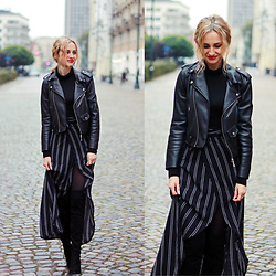 Adriana M. - Zara Faux Leather Jacket, Zaful Stripe Maxi Skirt, H&M Basic Black Jamper, Stradivarius High Boots - Texture, shape, layering.
