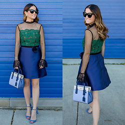 Jenn Lake - Asos Black Green Cobalt Sheer Dress, Kate Spade Cameron Street Mini Candace Satchel, Banana Republic Ruffle Jackie Heels, Quay Sugar And Spice Sunglasses, Kendra Scott Rogan Pearl Stud Starburst Earrings - Black Green Cobalt Sheer Dress