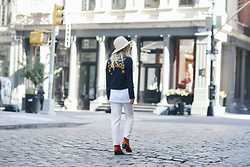 Rachel Lynch - Lack Of Color White Hat, Sugarhigh And Love Stoned Cosmos Jacket, Modern Vice Red Handler Boot - Soho & the cosmos