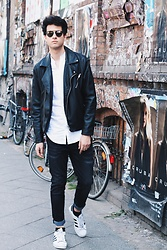 James Adams - Christian Dior So Real Shades, H&M Black Leather Jacket, Selected White Linen Shirt, Urban Outfitters Black Jeans, Adidas Superstars - Streets of Berlin in Black and White