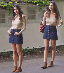 Laura E - Primark Nude Top, Miss Selfridge Denim Skirt, Primark Brown Ankle Boots - Casual nudes