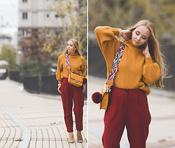Olga Choi - Romwe Sweater, Romwe Bag Strap, Jord Wood Watches - Spicy mustard
