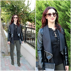 Rebel Takipte - Yoins Lace Up Top, Zaful Leather Jacket, Ami Club Wear Green Boots - Lace up Top