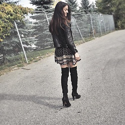Lena Antonacci - All Saints Leather Biker Jacket, Aldo Over The Knee Boots, Ardene Printed Dress - Over the knee boots