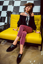 Agnija Grigule - Lindex Pink Glitter Trousers, Parfois Shoes, Lindex Scarf, Lindex Black Sweater - Pardon my french