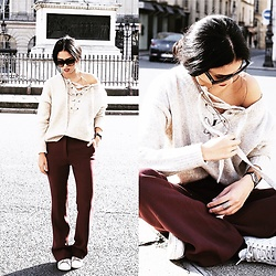 Elizabeth - H&M Flare Trousers, Zara Lace Up Sweater, Celine Sunglasses - BEIGE & BURGUNDY