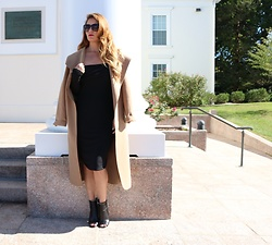 Jenna Poitras - Runaway The Label Off Hook Dress, Boohoo Belted Shawl Collar Coat, Zuri Lips Matte Lipstick Conquer - Little Black Dress for Fall