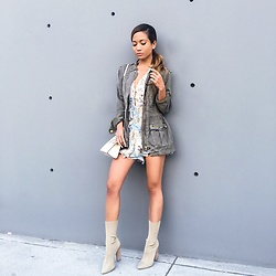 Jessi Malay - Sanctuary Clothing Military Jacket, Strathberry Nano Tote, Yeezy Boots - OOTD