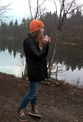Alla Dolzhenko - Hand Made Orange Hat With Flower, H&M Jacket With Leather Hands, H&M Jeans, Crocks Duck Boots, ;) Cup Of Tea - Nonamed river