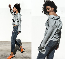 Aicha R. - All At Sea Copenhagen Silk Shirt, Sass & Bide Skinny Crop Jean - DREAM TONIGHT