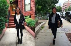 Monica and Bianca Roh - Zara White Knit Cropped Sweater, Zara Coat, Chanel Boy Bag, H&M Black Booties, Topshop Black High Waisted Jeans, Zara Gray Knit Sweater, Knit Cardigan, Louis Vuitton Montaigne, Mango Black Ripped Denim Jeans, Forever 21 Black Booties - Fall Fashion