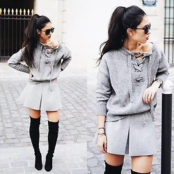 Elizabeth - Zara Grey Lace Up Sweater, Stuart Weitzman Black Thigh High Boots, Zara Grey Mini Skirt - SWEATER WEATHER