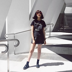 Amelia Goldie - Ebay Slowdive Band Tee, Evil Twin Momentary Pinafore, Komono Red Sunglasses, Dr Martens Laceups - Crazy for you