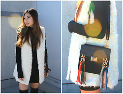 Victoria Chan - H&M White Vest, Bag, Forever 21 Thigh High Boots, H&M Black Turtle Neck - 10.17.16