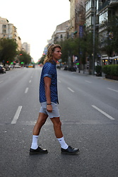 Richy Koll - Dr. Martens Oxfords, Nike Socks, Cheap Monday Short Pants, H&M Shirt - Barcelona vibes