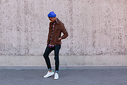 "Tony Logan - Paige Denim Suede Scot Jacket, Nudie Jeans Organic Denim, Adidas Stan Smiths, American Apparel Beanie - It's cool to be ""blu"" sometimes."