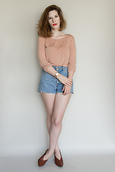 Elle Byrd - Thrifted Top, Bershka Denim Shorts, Komono Wristwatch, Gu Brown Heels - Peaches