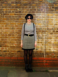 Charley Ellis - H&M Black Bowler Hat, Elite 99 Grey Crochet Top, Vintage Wool Skirt, New Look Black Lace Up Boots - Wilton's Music Hall