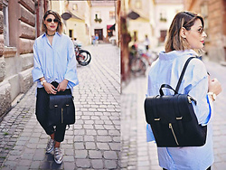 Elena Sandor - Le Ciel Bleu Shirt, Calvin Klein Backpack, Nine West Shoes, Jaeger Trousers - Wearing his shirt: casual streetstyle