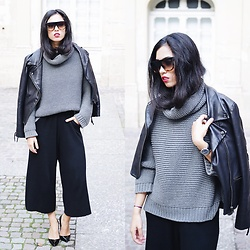 Elizabeth - Celine Sunglasses, Zara Turtleneck, Zara Ribbed Trousers, Christian Louboutin Patent Leather Heels - CASUAL CHIC KNITWEAR