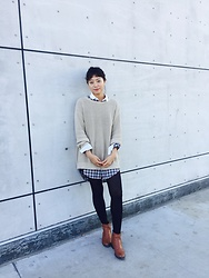 Tina Jo - American Apparel Sweater, Levi's® Shirt, Old Navy Boots, Uniqlo Hittech - Fall