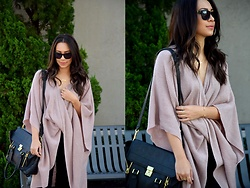 Melissa De Leon - Anthropologie Pink Sweater, Ag Jeans Dark Wash Denim, Anarchy Street Gold Jewelry - Pink Poncho