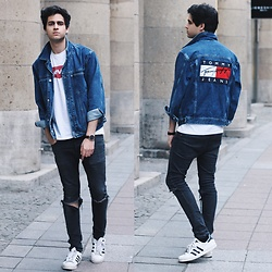 James Adams - Tommy Hilfiger Jeans Jacket, Levi's® White Levis Shirt, Skagen Denmark Brown Rosegold Watch, Adidas White Sneakers, H&M Black Ripped Jeans - With Tommy through Fall