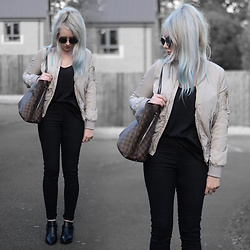 Sammi Jackson - Primark Silky Bomber, H&M Vest, Topshop Joni Jeans, Louis Vuitton Bag, Wholesale 7 Boots, Zaful Sunglasses - SILKY BOMBER