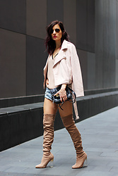 Emily S - Pretty Little Thing Over The Knee Boots, One Teaspoon Denim Shorts, Plt Blush Biker Jacket - Over The Knee Boots