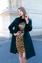 Julia - Vipme Coat, Zara Tee, Zara Skirt, Michael Kors Watch - Fall ready