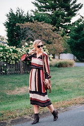 Julien Garman - Roman Striped Silk Dress, Lacoste Brown Boots, Fossil Leather Crossbody Bag - Striped Silk Dress