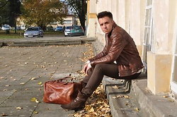Pawel - Vintage Leather Bag, H By Hudson Shoes, Levi's® Jeans, Ysl Yves Saint Laurent Sweater, Massimo Dutti Leather Jacket - Autumn leaves