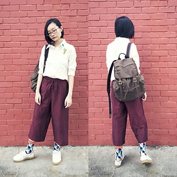 Ren Rong - Shein Embroidered Shirt, Fossil Backpack, Max Cropped Pants, Sammy Icon Socks, Kurt Geiger Sneakers - Wickedly Lengthy