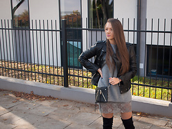 Magdalena K. - Calvin Klein Leather Jacket - Over the Knee Boots & Leather Jacket