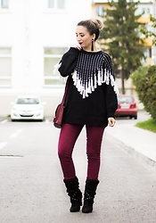 Andreea Ristea - Black Oversized Tassel Sweater, Burgundy Pants, Burgundy Bag, Black Boots - Tassels sweater