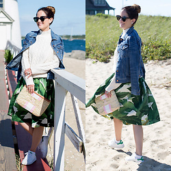 Jenn Lake - Party Skirts Palm Print Skirt, Asos Ivory Cable Knit Sweater, J. Crew Distressed Denim Jacket, Lindroth Designs Monogram Straw Clutch, Adidas Stan Smith Sneakers, Urban Outfitters Round Tortoise Sunglasses - Party Skirts Palm Print